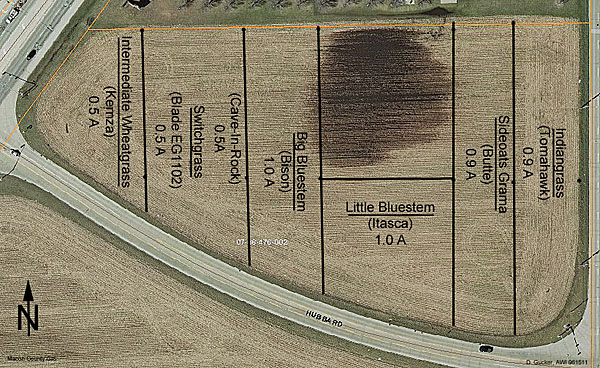 Map of the north plot area of the Prairie for Bioenergy Project